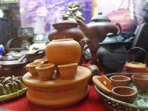Miniatura dell'insieme di tè dell'argilla Fotografia Stock
