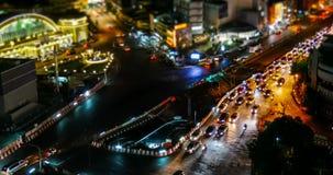 Miniaturart von timelapse an der Kreuzung in Bangkok stock video footage