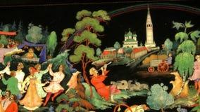 Miniaturas da laca de Palekh, região de Ivanovo video estoque