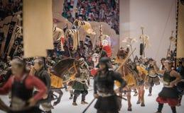 Miniaturas de soldados japoneses tradicionales en Osaka Castle Foto de archivo libre de regalías