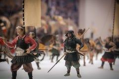 Miniaturas de soldados japoneses tradicionales en Osaka Castle Fotos de archivo