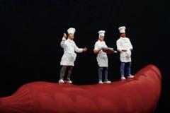 Miniaturas dos cozinheiros e da pimenta de pimentão encarnado Fotos de Stock Royalty Free