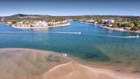 Panorama aerial view of Noosa River. Aerial view of Noosa River from Lookout featuring noosa sound, canals, accommoadtion Stock Photos