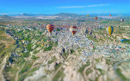 Miniature aerial view of hot air balloons in Cappadocia Royalty Free Stock Images