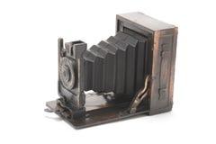Miniature Antique Camera. On White Background Stock Photos
