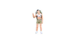 Miniature backpacker and tourist people. Close up of Miniature backpacker and tourist people isolated with clipping paht on white background.Elegant Design with Stock Photo