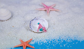 Miniature bather. In a seashell Stock Image