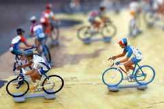 Miniature Bike Racers. Miniature bike racing figures riding the Tour de France stock photos