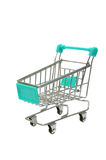 Miniature blue trolley supermarket isolated on white Royalty Free Stock Images