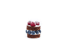 Miniature blueberry dessert. With cream and chocolate Stock Image