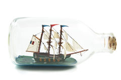 Miniature boat in bottle stock images
