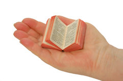A miniature book on the palm Stock Images