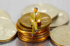 Miniature Businessman Royalty Free Stock Photo