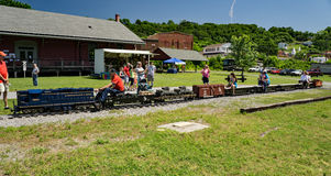 Miniature C&O Train Ride. Clifton Forge, VA – June 3rd: Children enjoying a miniature C&O train ride at the annual Alleghany Highlands Heritage Day and the C&O Stock Images