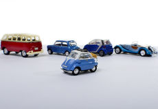 Miniature car against other cars Royalty Free Stock Photos