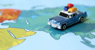 Miniature car on a map stock footage
