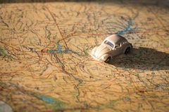 Miniature car on the United States map, concept of holiday trip. Miniature car on the USA map, concept of holiday trip Stock Photos