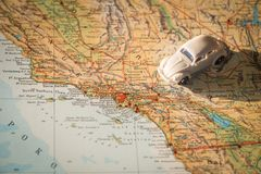 Miniature car on the United States map, concept of holiday trip. Miniature car on the USA map, concept of holiday trip Stock Photo