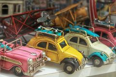 Miniature cars for sale in a showcase stock image
