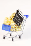 Miniature cart with latander, popcorn Stock Images