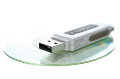 Miniature CD and thumb drive Royalty Free Stock Image