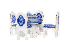 Miniature ceramic antique dining table Royalty Free Stock Photos