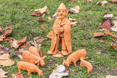 Miniature ceramic statues of different people and traditions. Beautiful hand made ceramic statue by a local pottery artist Stock Images