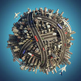 Miniature chaotic urban planet stock illustration