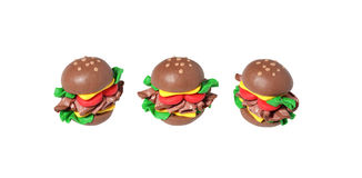 Miniature cheese burger model from japanese clay Stock Photography