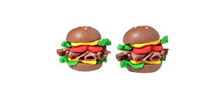 Miniature cheese burger model from japanese clay Royalty Free Stock Photography