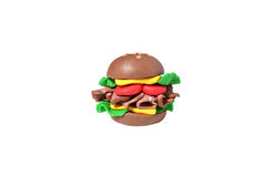 Miniature cheese burger model from japanese clay Stock Photo