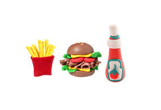 Miniature cheese burger and potato fried model Royalty Free Stock Image