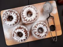 Miniature Chestnut Bundt Cakes with Chocolate Chips. On a bamboo cutting board, on a dark brown background stock image