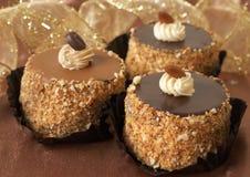 Miniature Chocolate Cakes Stock Photos