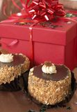 Miniature Chocolate Cakes And Gifts Stock Photos