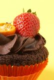 Miniature chocolate cupcake with strawberry Stock Photo