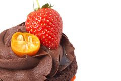 Miniature chocolate cupcake with strawberry Royalty Free Stock Photos