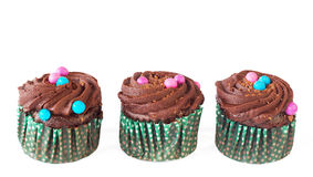 Miniature chocolate cupcakes Royalty Free Stock Photos