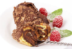 Miniature chocolate swiss roll Royalty Free Stock Image