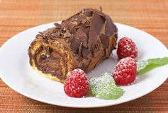 Miniature chocolate swiss roll Royalty Free Stock Images