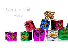 Miniature Christmas presents with copy space Royalty Free Stock Photography