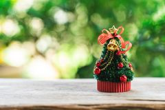 Miniature Christmas tree Celebrate Christmas on December 25 every year. using as background xmas concept with copy spaces for you. Miniature Christmas tree royalty free stock photo