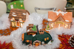 Miniature Christmas Village Stock Photography