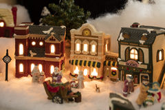 Miniature Christmas Village Scene Stock Photos