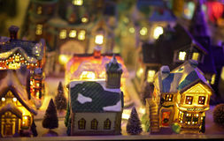 Miniature Christmas village scene Royalty Free Stock Photo