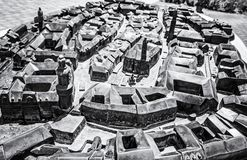 Miniature city model of Sopron in Hungary. Travel destination. Artistic object. Black and white photo royalty free stock images