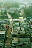 Miniature city. Real city taken photo using miniature effect, Supanburi, Thailand Stock Photography