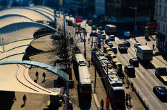Miniature city of vienna with tram cars Stock Photo