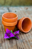 Miniature clay pots Royalty Free Stock Images