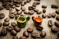 Miniature coffee cups Stock Photography